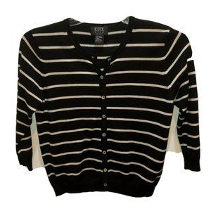 City Silk Knit Wear Black Striped Sweater Cardigan